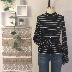 Keepsake Knit eyelet Hugh-collar striped sweater